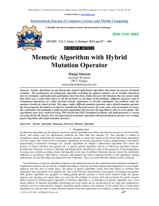 Memetic Algorithm with Hybrid Mutation Operator