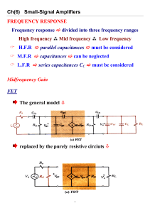 Ch(6) Small-Signal Amplifiers FREQUENCY RESPONSE Frequency