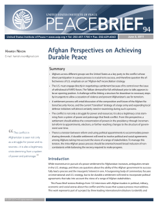 Afghan Perspectives on Achieving Durable Peace