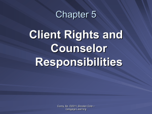 Client Rights and Counselor Responsibilities
