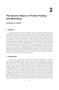 The Generic Nature of Protein Folding and Misfolding