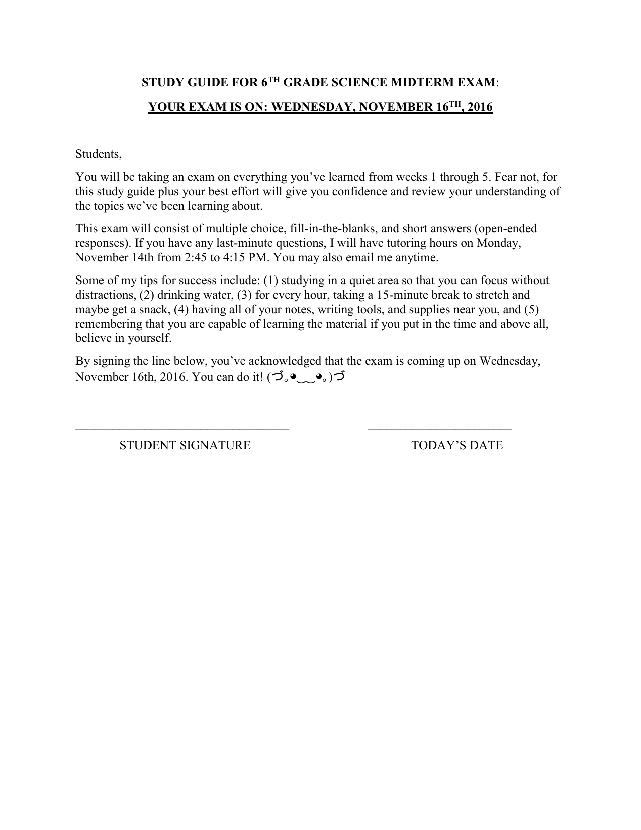 STUDY GUIDE FOR 6TH GRADE SCIENCE MIDTERM EXAM