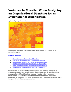 Variables to Consider When Designing an Organizational Structure