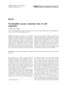 Review Psychrophilic enzymes: molecular basis of cold