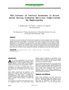 The Content of Certain Hormones in Blood Serum during