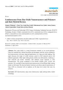 Luminescence from Zinc Oxide Nanostructures and
