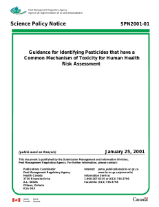 Guidance for Identifying Pesticides that have a Common Mechanism