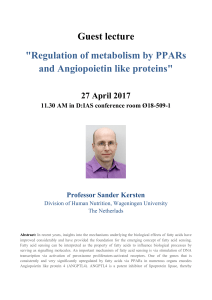 Regulation of metabolism by PPARs and Angiopoietin like proteins