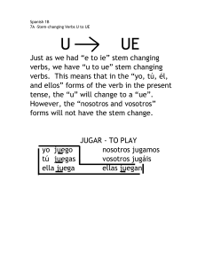 7A Stem Changing Verbs (U to UE)