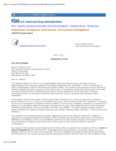 FDA Warning Letter to LifeCell Corporation 2011-05-11