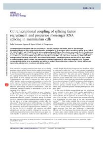 Cotranscriptional coupling of splicing factor recruitment and