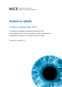 Autism in adults: Evidence Update May 2014