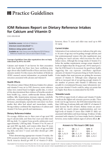 IOM Releases Report on Dietary Reference Intakes for Calcium and