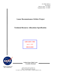 Lunar Reconnaissance Orbiter Project Technical Resource