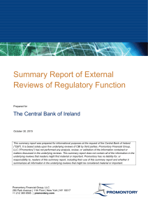 Summary Report of External Reviews of Regulatory Function