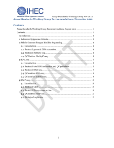 Assay Standards Working Group Recommendations, November 2012