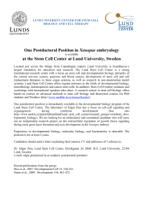 One Postdoctoral Position in Xenopus embryology at the Stem Cell