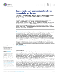 Sequestration of host metabolism by an intracellular pathogen | eLife