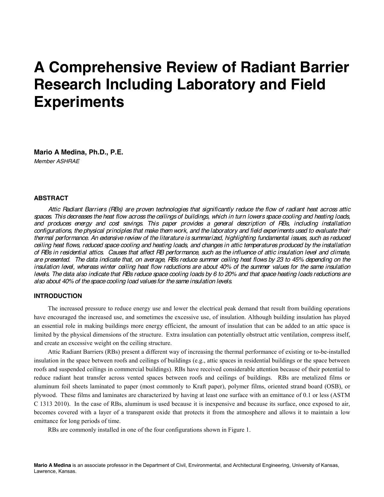 A Comprehensive Review of Radiant Barrier