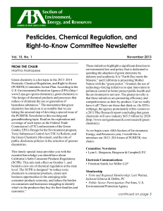 Pesticides, Chemical Regulation, and Right-to