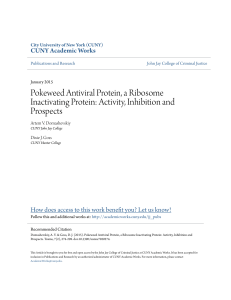 Pokeweed Antiviral Protein, a Ribosome Inactivating Protein: Activity