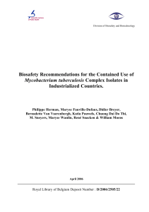 Biosafety Recommendations for the Contained Use of M.