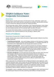 TEQSA Guidance Note: Corporate Governance