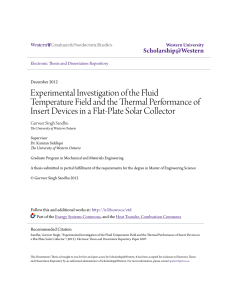 Experimental Investigation of the Fluid Temperature Field and the
