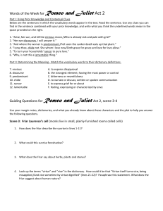 Romeo and Juliet Act 2 Scene 3-6 Questions
