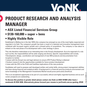 Product research and analysis Manager