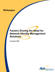 Factors Driving the Need for Network Identity