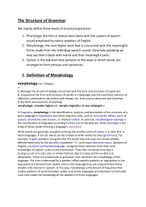 Definition of Syntax and Morphology