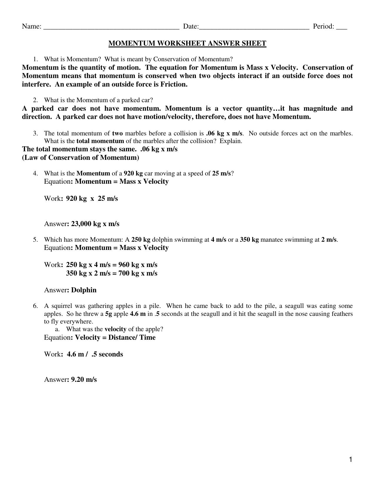Worksheets Conservation Of Momentum Worksheet Answers worksheet conservation of momentum wiildcreative facialreviveserum com
