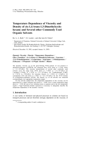 Temperature Dependence of Viscosity and Density of cis-1,4/trans