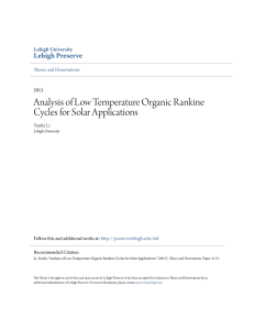 Analysis of Low Temperature Organic Rankine