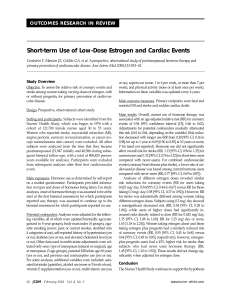Short-term Use of Low-Dose Estrogen and Cardiac Events