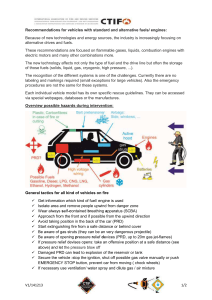 Recommendations for vehicles with standard and alternative fuels