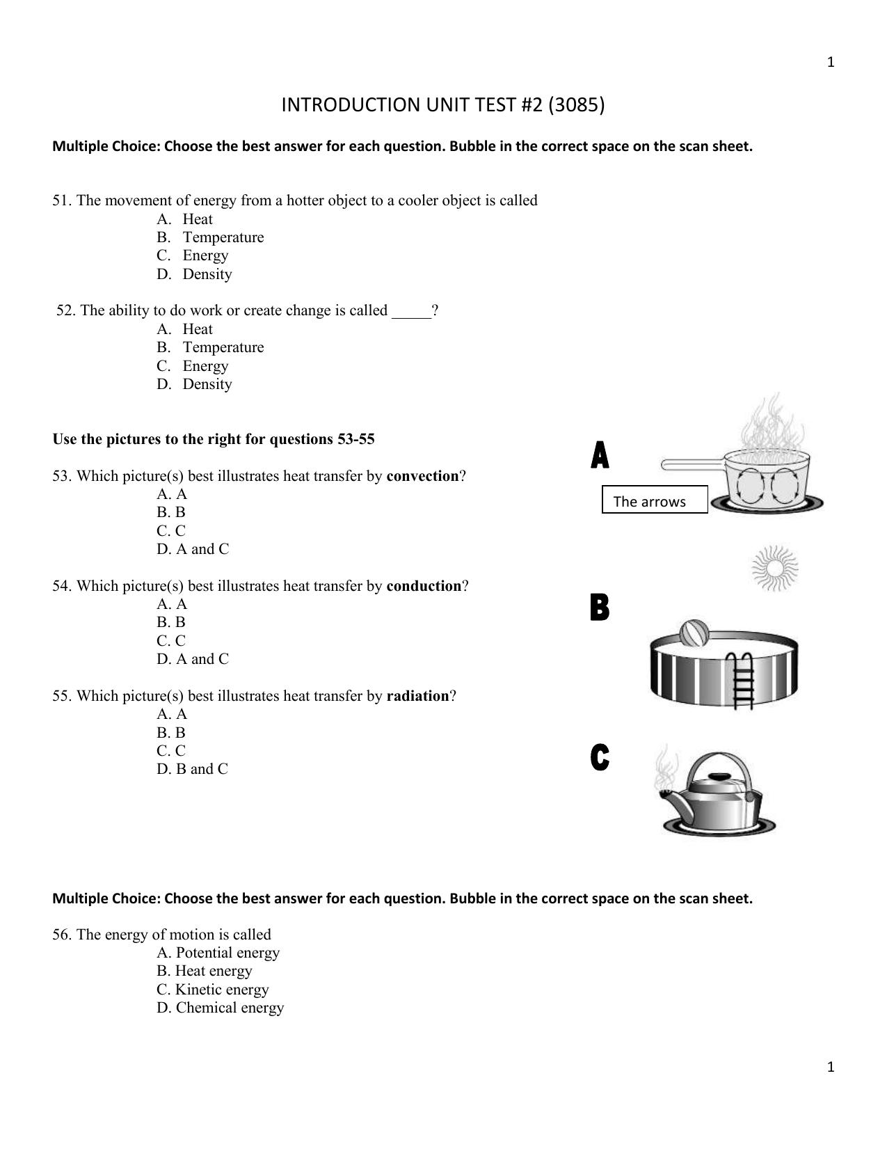 INTRODUCTION UNIT TEST #2 (3085) Multiple Choice: Choose the