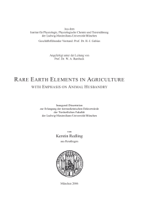 Rare Earth Elements in Agriculture with Emphasis on Animal