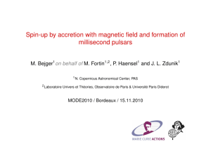 Spin-up by accretion with magnetic field and formation of