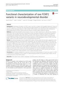 Functional characterization of rare FOXP2 variants in