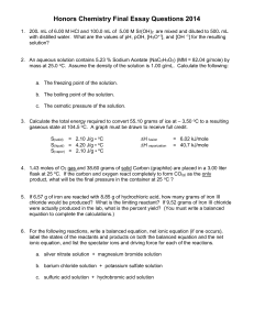 Honors Chemistry Final Essay Questions 2007