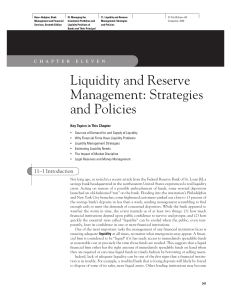 Liquidity and Reserve Management: Strategies and Policies