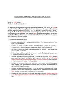 Independent Accountant`s Report on Applying Agreed Upon