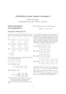 MATH10212 • Linear Algebra • Examples 2 Linear dependence and