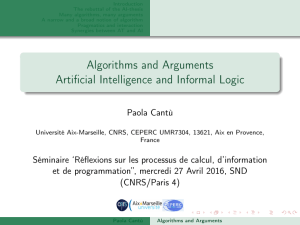 Algorithms and Arguments Artificial Intelligence