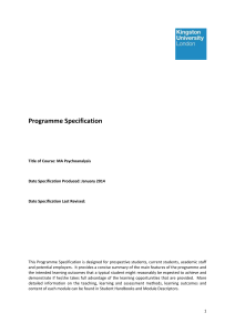 Psychoanalysis - Programme Specifications