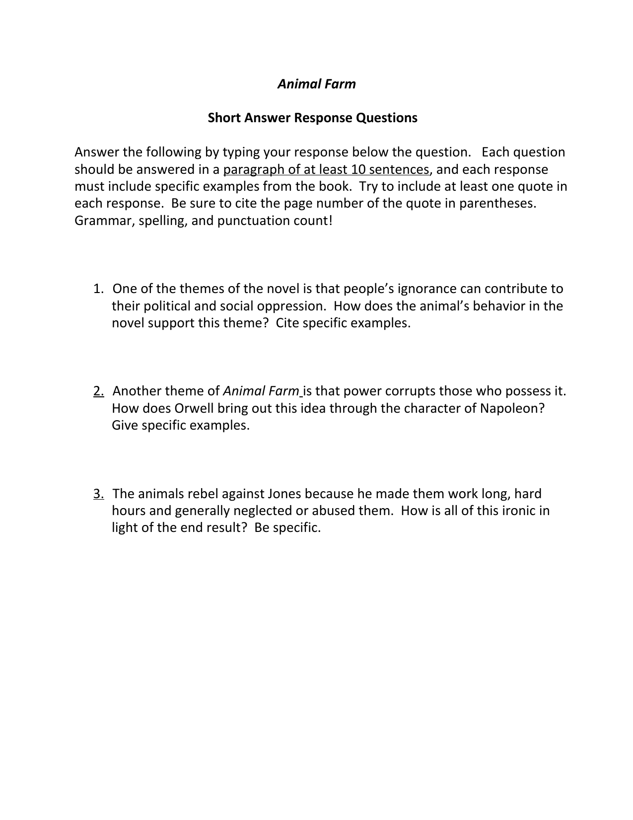 Animal Farm Short Answer Response Questions Answer the