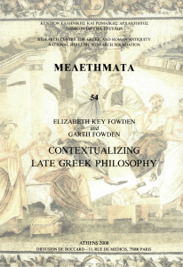 ΜΕΛΕΤΗΜΑΤΑ CONTEXTUALIZING LATE GREEK PHILOSOPHY
