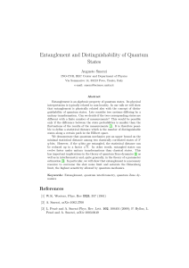 Entanglement and Distinguishability of Quantum States
